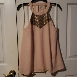 Peach top with sequined neck